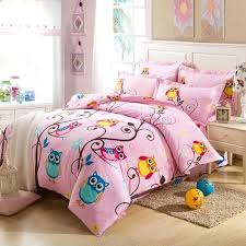 impressive teen full size bedding pink and colorful nature night owl print jungle animal cotton kids