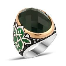Silver Stone Ring Designs Silver Men Rings With Green Zircon Stone Boutique Ottoman High End
