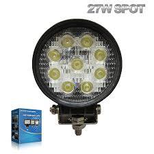 com 27w round led work light lamp off road high power atv jeep 4x4 tractor 30 degree spot light automotive