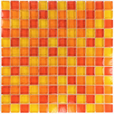 glass mosaic tiles yellow orange red mix tm33451
