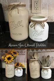 Extra large Mason jar utensil holder set/Farmhouse kitchen decor/Utensil  storage containers/