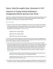 seasons_of_change_activity_worksheet.rtf - Name Sofia McLaughlin Date  December 8 2017 Seasons of Change Activity Worksheet Disappearing Marine  Iguanas | Course Hero