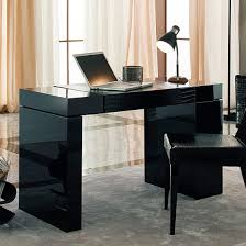 hidden desk furniture l exciting glazed black lacquer finish home office desk has an hidden drawers astounding small black computer