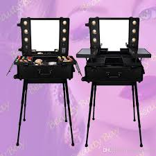 2019 professional trolley aluminium aluminum black pink makeup case with lights lighted makeup station with mirror bulbs stands legs 4 wheels from