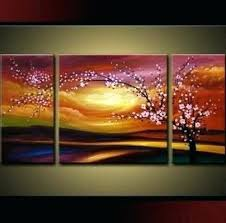 3 piece canvas art art plum tree blossom hand painted abstract wall art sets painting for on 3 piece wall art canada with 3 piece canvas art art plum tree blossom hand painted abstract wall