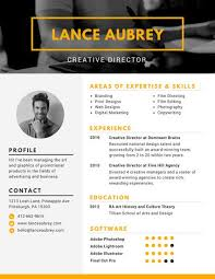 Yellow Creative Director Photo Resume