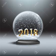 Snow Globe Design Snow Globe With Shiny Snow And 2018 Golden Sign Vector Christmas