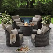 Members mark agio heritage 5 piece outdoor fire pit chat set with sunbrella fabric sams club