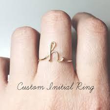 <b>Custom Initial ring</b> sterling silver <b>letter ring</b>/gold fill | Etsy