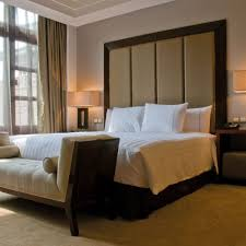 ... Tall Bespoke Four Panel Headboard U0026 Button Back Ottoman; Bespoke Hotel  ...