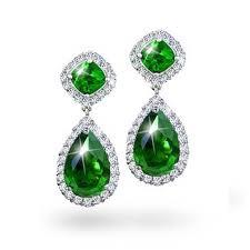 bling jewelry emerald green color cz teardrop pave dangle earrings
