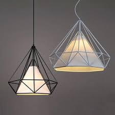 pyramid lamp modern diamond pendant lights iron minimalist retro light loft metal cage with led rattan table