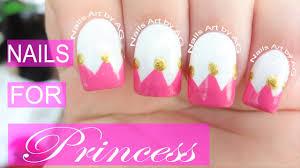 Diseño de uñas corona princesas Princess crown nails art - YouTube