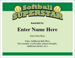 softball award certificate softball superstar certificate award template fastpitch or slow
