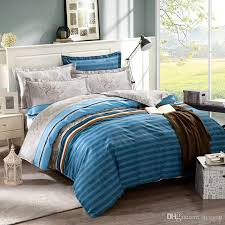 printed american style bedding set queen king duvet cover bedsheet blue stripe quilt cover promotion bedding set with 85 25 piece on hycyou s