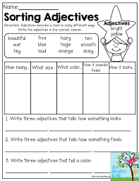 Free Worksheets Adjectives 2nd Grade   Homeshealth.info
