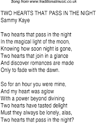 You And The Night And The Music Chart Top Songs 1941 Music Charts Lyrics For Two Hearts That