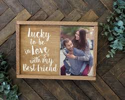 elegant signs lucky to be in love romantic gift picture frame for boyfriend gift for him gift for her wife gift girlfriend