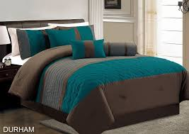 brown king size comforter com chezmoi collection durham 7 piece pleated quilting bedding set full teal