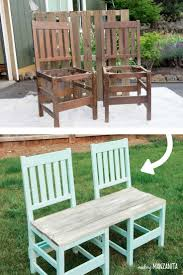 diy repurposed furniture. Upcycled Chair Bench For Your Backyard | Upcycle 2 Old Chairs Into A Repurposed Turned An Outdoor DIY With Thrift Diy Furniture .