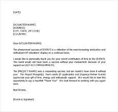 letter for volunteers sample volunteer thank you letter 9 download free