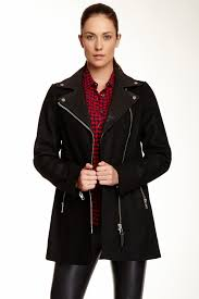 image of mackage phylis wool blend coat with leather collar