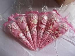 pink <b>party</b> sweet cone favours <b>SET</b> OF 20 christening Favoures ...