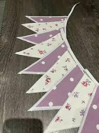 LAURA ASHLEY BUNTING - double sided Lullabelle And Grape Polka Dot | eBay