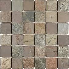 anatolia tile multi color tumbled uniform squares mosaic slate wall tile common 12