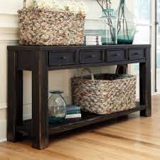 black sofa table with storage. Signature Design By Ashley Gavelston Rectangular Black Sofa Table With Storage A