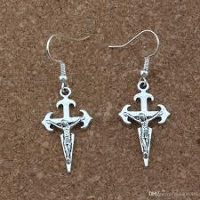 Großhandel Jesus Christus Kruzifix Religiöse Kreuz Ohrringe Silber Fisch Ohr Haken Antik Silber Kronleuchter Schmuck 165x46mm A 247e Von Xuan16888