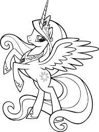 Beautiful Queen My Little Pony Coloring Pages 2 Color Cute