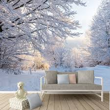 Winter Woods Wall Mural White Trees Forest Photo Wallpaper Bedroom Home  Decor