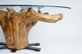 tree stump glass coffee table with