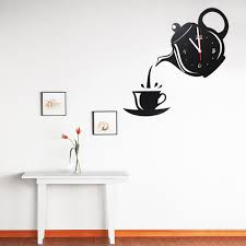 Small Picture DIY Modern Teapot Cup Acrylic Large Black Wall Clock Home