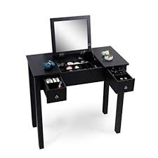organizedlife black dressing table vanity with mirror wooden makeup desk