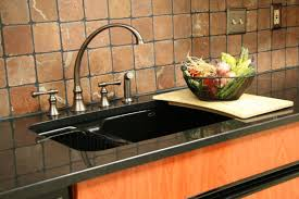 Kitchen Sinks With Granite Countertops Black Granite Countertop With Sink And Stainless Faucet Also Light