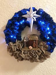 Wreath With Blue Lights Pin On Christmas