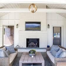 tiffany farha design white brick outdoor fireplace with flat panel tv niche