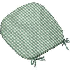 gingham check tie seat pad kitchen outdoor dining chair round cushion green cushions platform rocking pregnancy