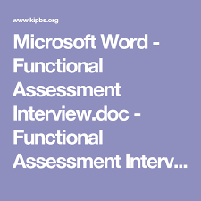 microsoft word assessment microsoft word functional assessment interview doc functional