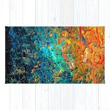 blue and orange rug eternal tide 2 rainbow ocean waves abstract acrylic painting summer colorful beach blue and orange rug