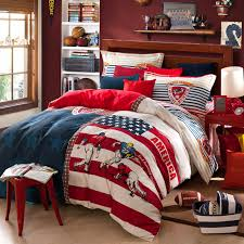american football usa flag blue and red striped bedding sets queen size pure cotton duvet cover bed sheets fabric in bedding sets from home