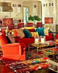 red couch living room