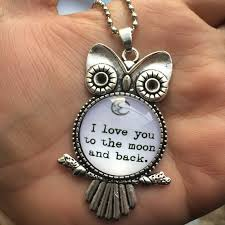 details about i love you to the moon and back owl cabochon glass necklace silver pendant u 21
