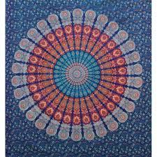 Orange And Blue Bedroom Indian Blue Orange Mandala Queen Size Boho Wall Bedding