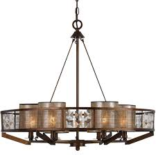 iron wood crystal chandelier mica shades