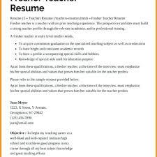 Resume Sample For Fresher Teacher Sample Resume Preschool Teacher