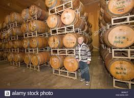 storage oak wine barrels. Oak Barrels Where Wine Is Stored To Age, Lava Cap Winery, Placerville, California, USA. Storage