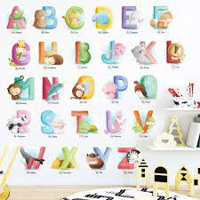 a z animales alfabeto pared adhesivo
